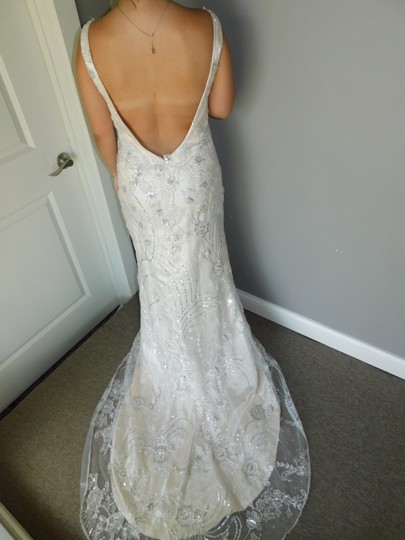 Maggie Sottero Ivory Light Gold Pewter Finley Vintage Wedding Dress Size 10 (M) Image 5