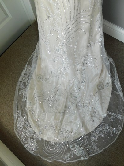 Maggie Sottero Ivory Light Gold Pewter Finley Vintage Wedding Dress Size 10 (M) Image 9