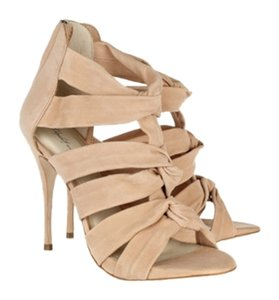 Elizabeth and James Nude Heel Nude Love Knot Suede Beige/Nude Sandals