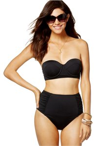 Bar III BAR III BLACK MIDKINI UNDERWIRE TOP AND SIDE RUCHED HIGH WAISTED SET X