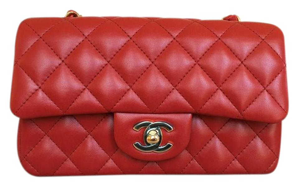 ac8e0fc80963 Chanel Classic Flap Classic Mini with Gold Chain Red Lambskin ...