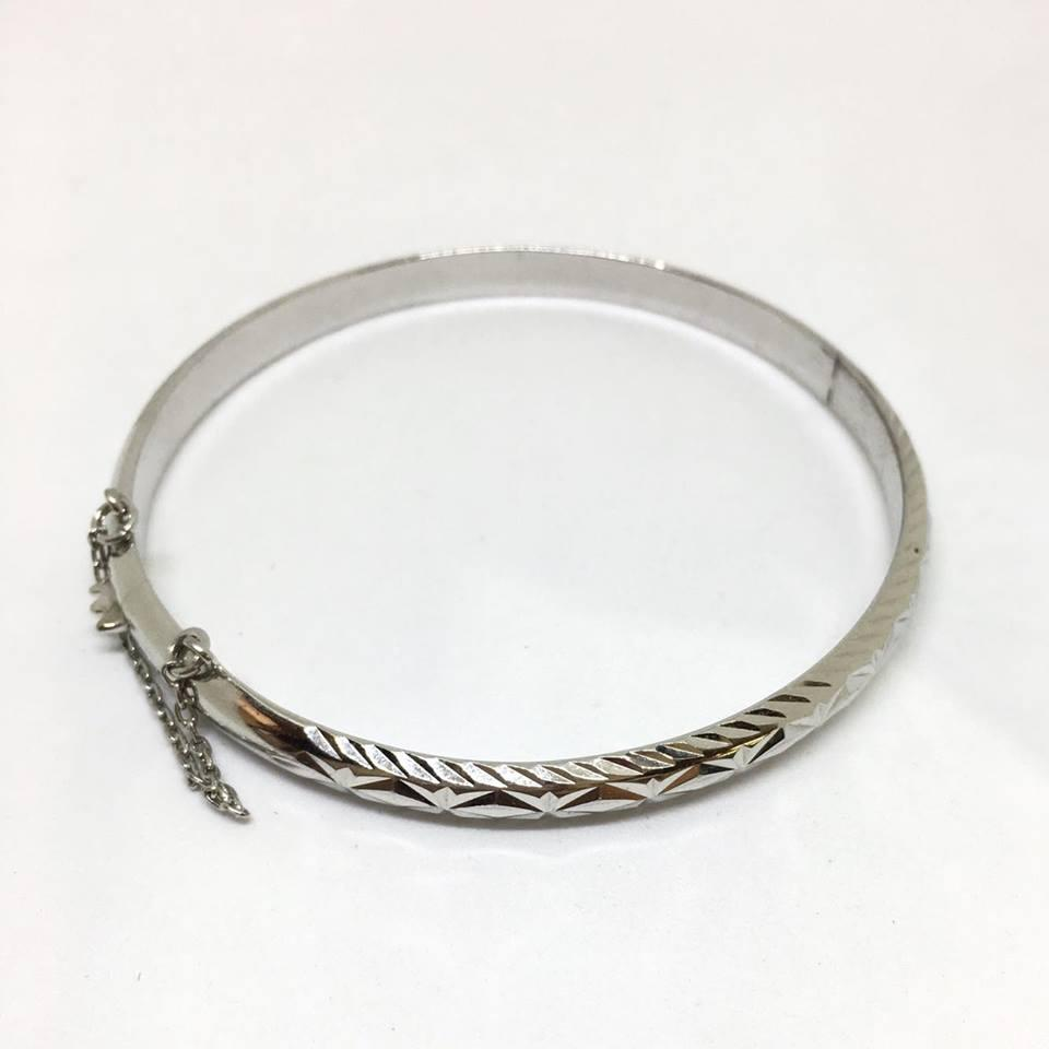 Sterling Silver Patterned With Safety Chain Bracelet