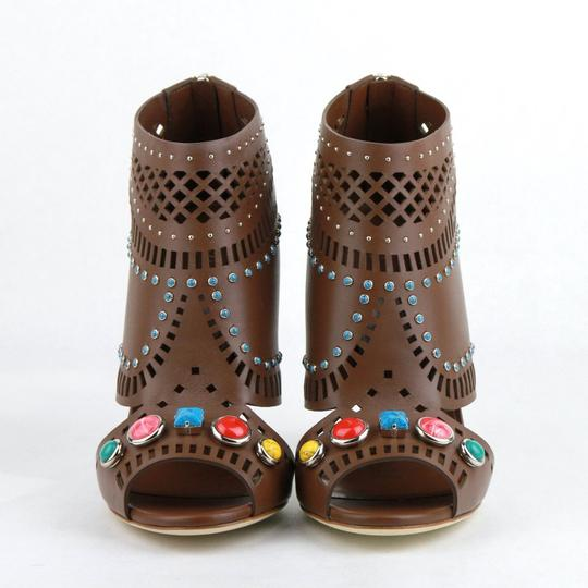 Gucci Opened Toed Brown Boots Image 2
