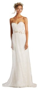 Alfred Angelo Champagne / Ivory Lace / Soft Net 8565a Modern Wedding Dress Size 10 (M)