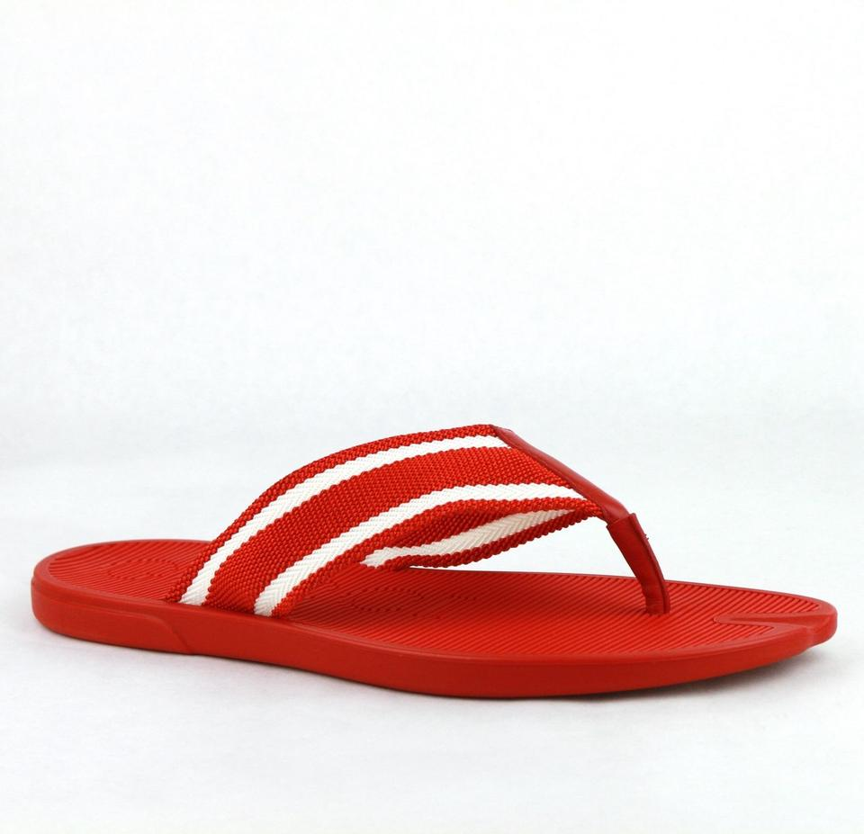 752631391d2e Gucci Red Rubber Sandals with White Stripes 7g   Us 7.5 391366 7567 Shoes