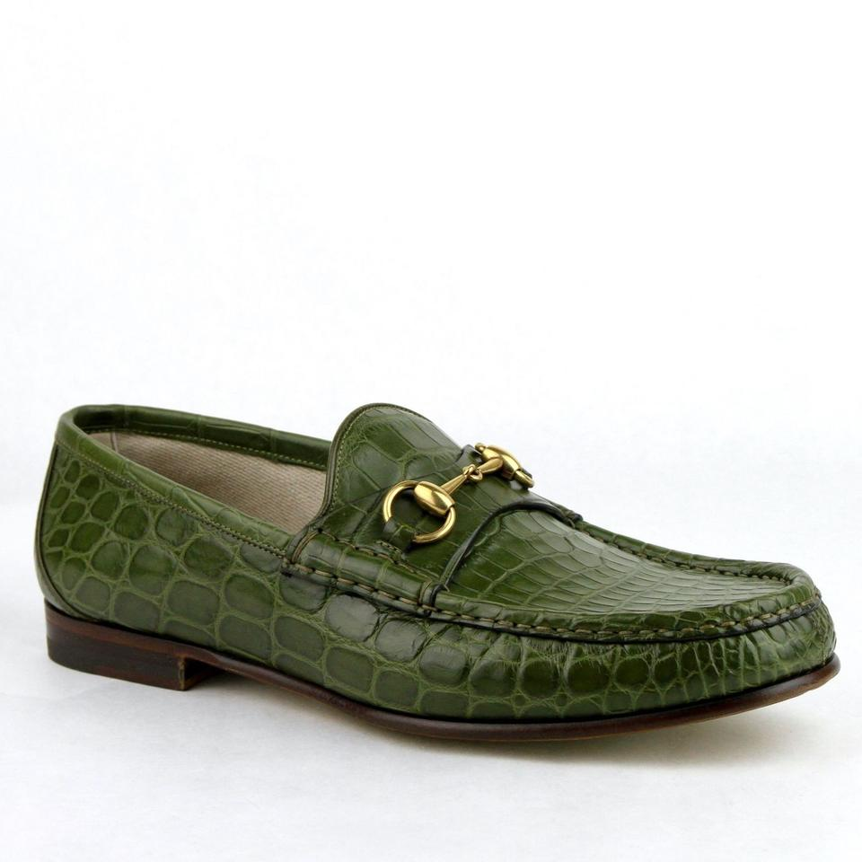 7b33e09bf25 Gucci Green Horsebit Crocodile Leather Loafers with Gold 9   Us 9.5 307929  2403 Shoes Image ...