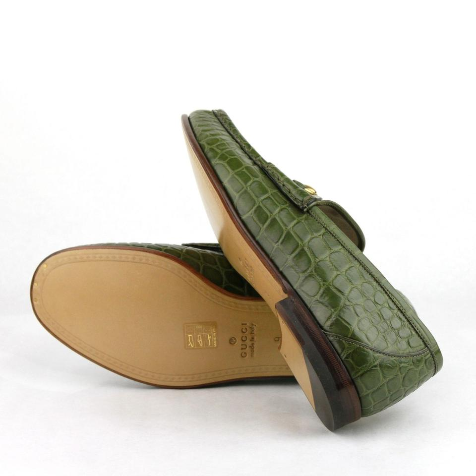 b522a2cd356 Gucci Green Horsebit Crocodile Leather Loafers with Gold 9   Us 9.5 307929  2403 Shoes Image. 12345678