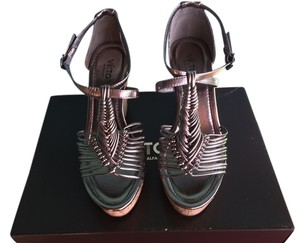 Victor Alfaro Faux Platform Strappy Pewter Wedges