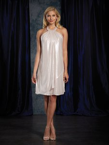 Alfred Angelo Silver / Nude Metallic 8121 Modern Bridesmaid/Mob Dress Size 8 (M)