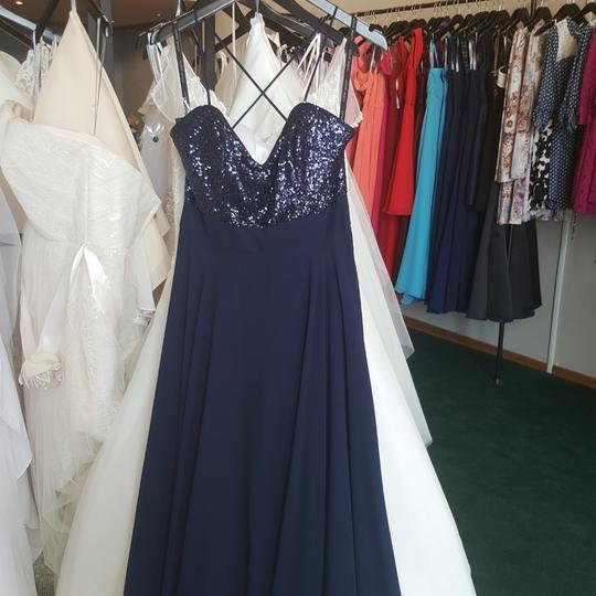 Alfred Angelo Navy Sequin / Chiffon 8118 Modern Bridesmaid/Mob Dress Size 10 (M) Image 5
