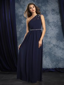 Alfred Angelo Navy Chiffon 8109 Formal Bridesmaid/Mob Dress Size 10 (M)