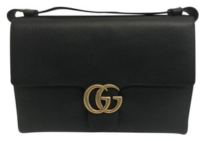 Gucci Marmont Leather Black Messenger Bag