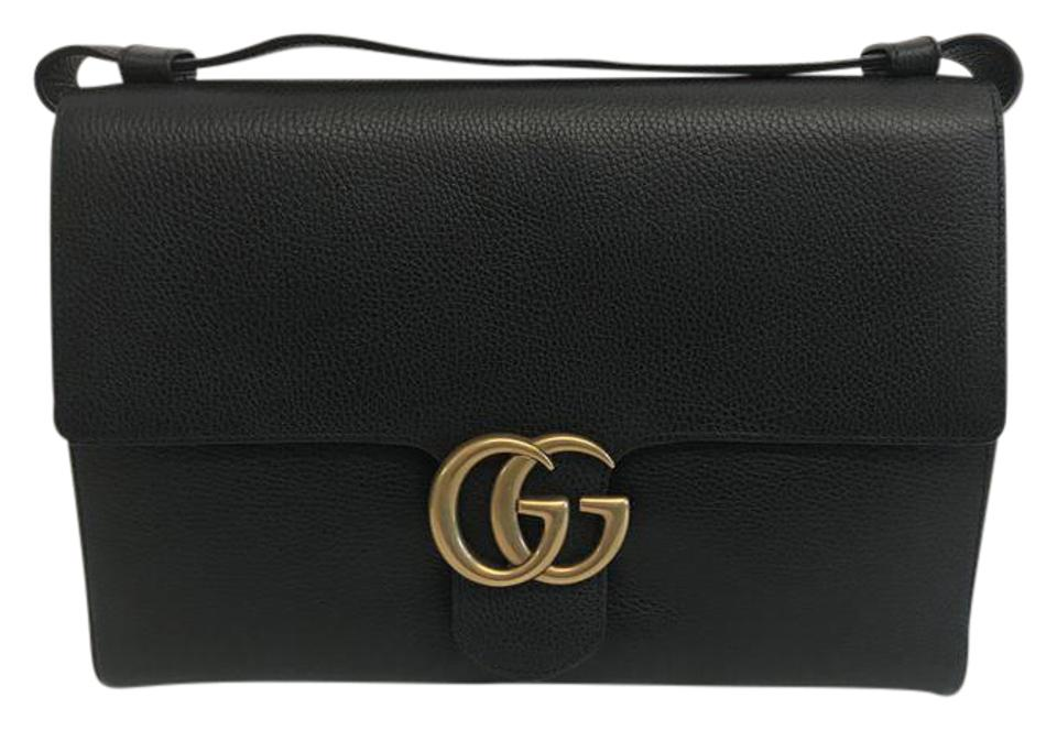 77a8c81cad0 Gucci Marmont Xl Black Leather Messenger Bag - Tradesy