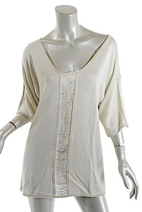 Pashmere Fringe Cotton Elbow Sleeve Dolman Soft Top Beige