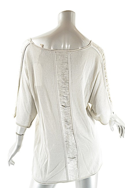 Pashmere Fringe Cotton Elbow Sleeve Dolman Soft Top Beige Image 1