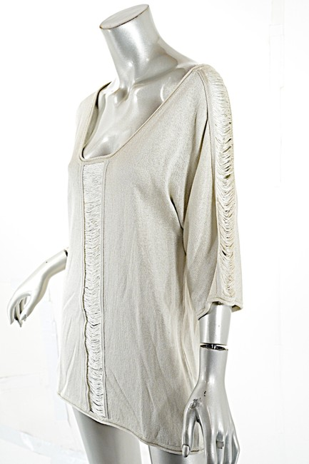 Pashmere Fringe Cotton Elbow Sleeve Dolman Soft Top Beige Image 2