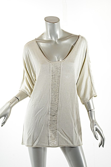 Pashmere Fringe Cotton Elbow Sleeve Dolman Soft Top Beige Image 3