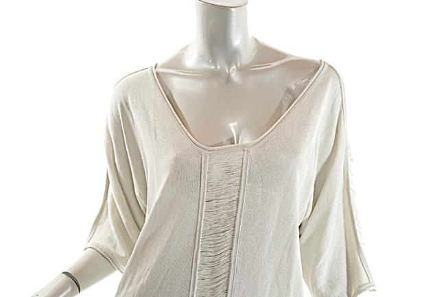 Pashmere Fringe Cotton Elbow Sleeve Dolman Soft Top Beige Image 4