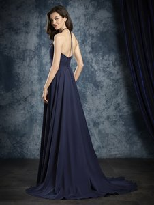 Alfred Angelo Navy Chiffon 8108 Formal Bridesmaid/Mob Dress Size 8 (M)