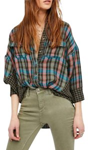 Free People Boho Vintage Flannel Button Down Shirt green