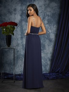 Alfred Angelo Navy Chiffon 8103 Formal Bridesmaid/Mob Dress Size 8 (M)