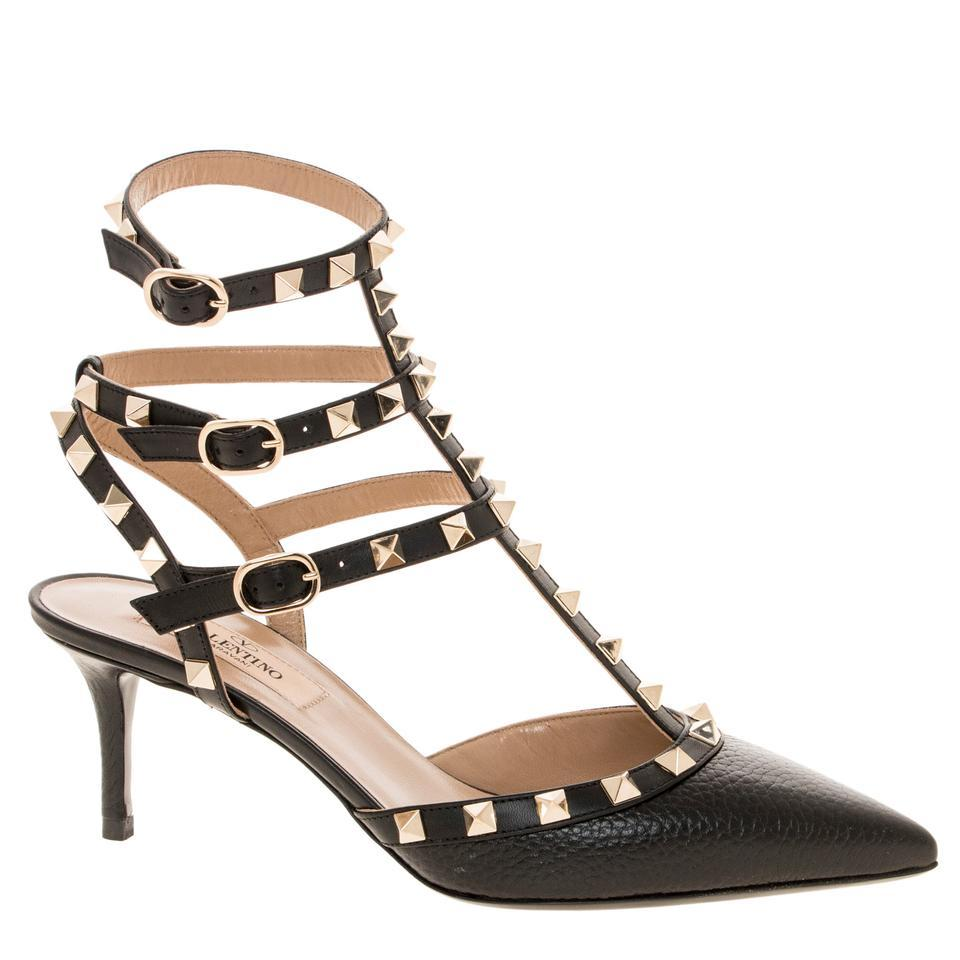 valentino clearance textured leather rockstud kitten heels eu 40 black pumps on sale 27 off. Black Bedroom Furniture Sets. Home Design Ideas