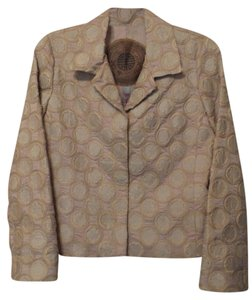 Biya Silk Jacket Johnny Was Applique Embroidered Pale Pink Blazer
