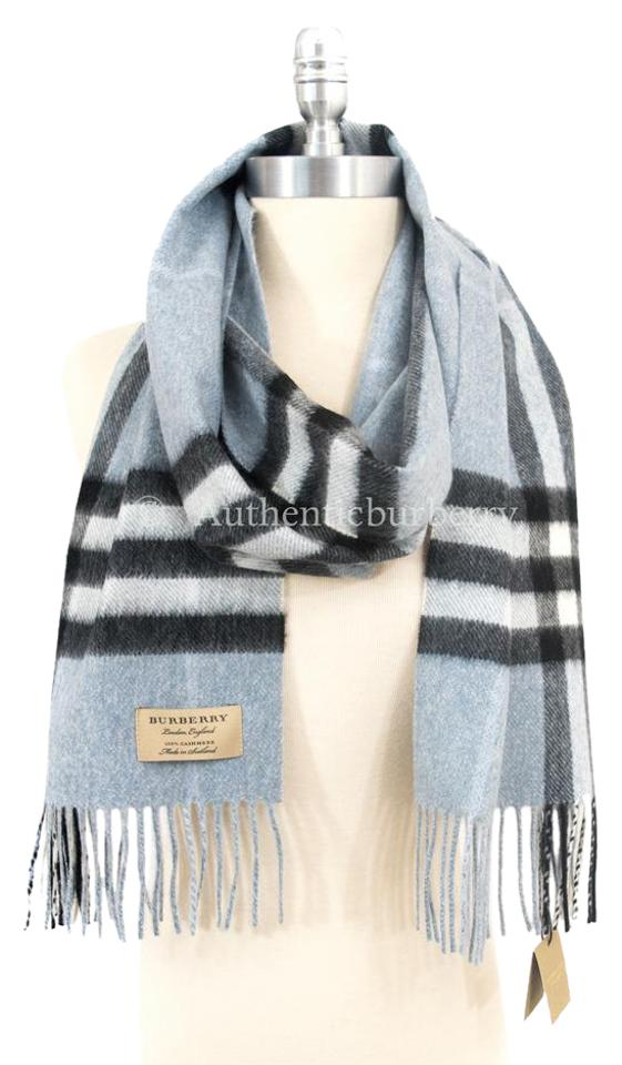 d496a4c2abcb9 Burberry Dusty Blue Classic Cashmere In Check - Scarf/Wrap - Tradesy