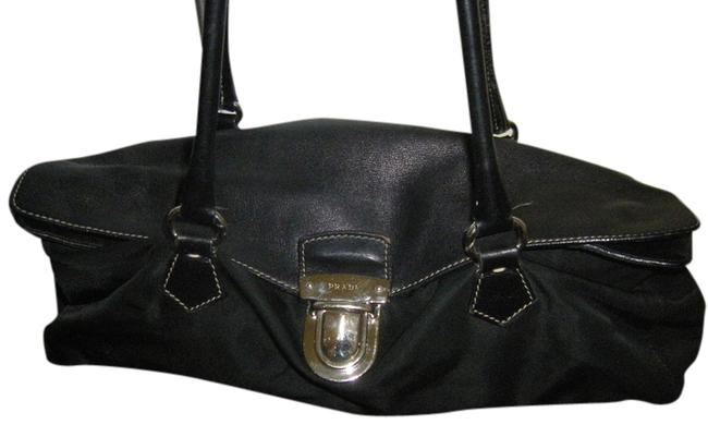 Item - East West Black with Silver Pushlock Soft Leather and Nylon Satchel