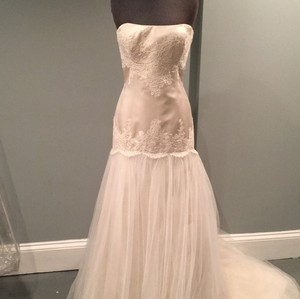 CHRISTOS Champagne Lace On Satin with Tulle Skirt And Feminine Wedding Dress Size 6 (S)