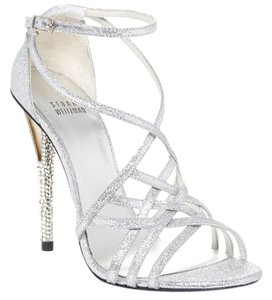 Stuart Weitzman Silver Stipmall Glitter Sandals Formal Size US 6 Regular (M, B)