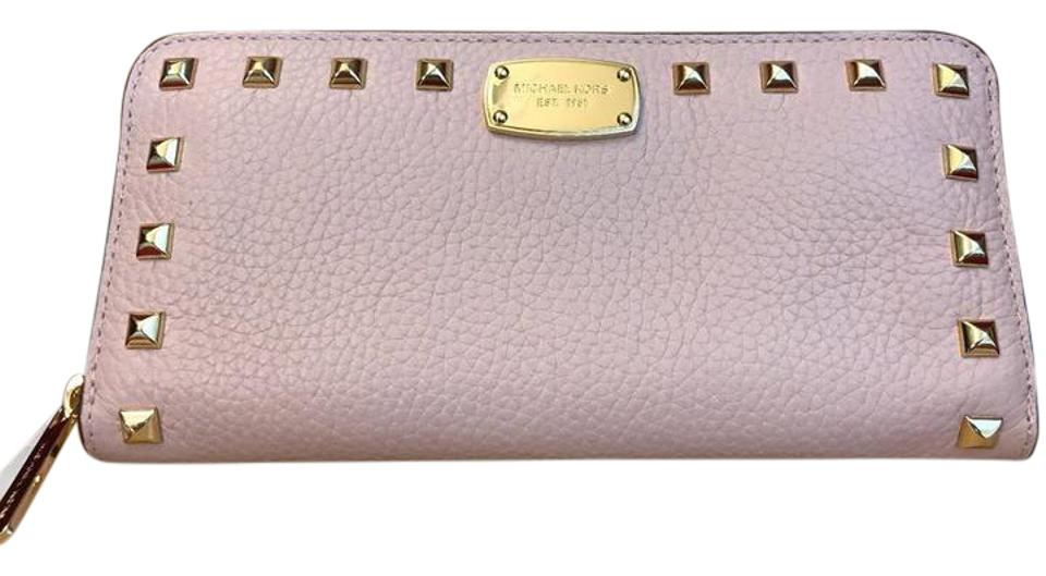 9d0b40aefde1 Michael Kors Blossom   Gold Tone Jet Set Travel Studded Leather Continental  Wallet