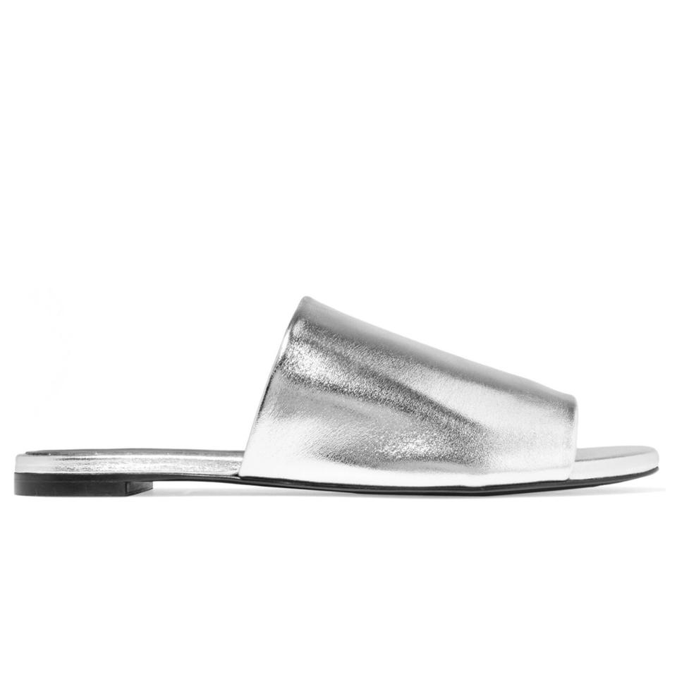 acf34bbe7a29 Robert Clergerie Silver Gato Metallic Mules Slides Size US 8.5 ...