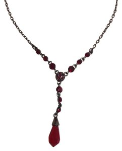 Givenchy Givenchy - Hematite and Blood Red Stones Vintage Necklace