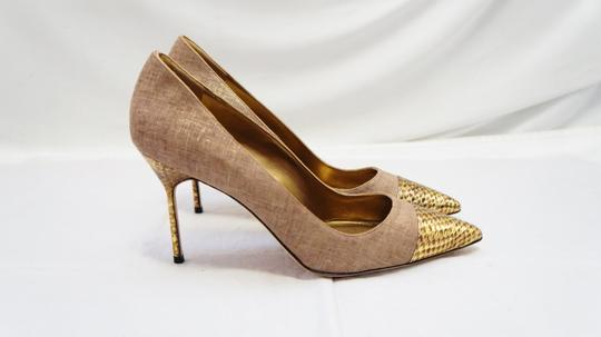 Manolo Blahnik New Bipunta Embossed Leather Gold Shimmer Linen Heels 11 Brown Pumps