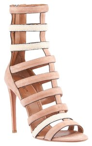 ALAÏA Strappy New Rose Suede Nude Sandals