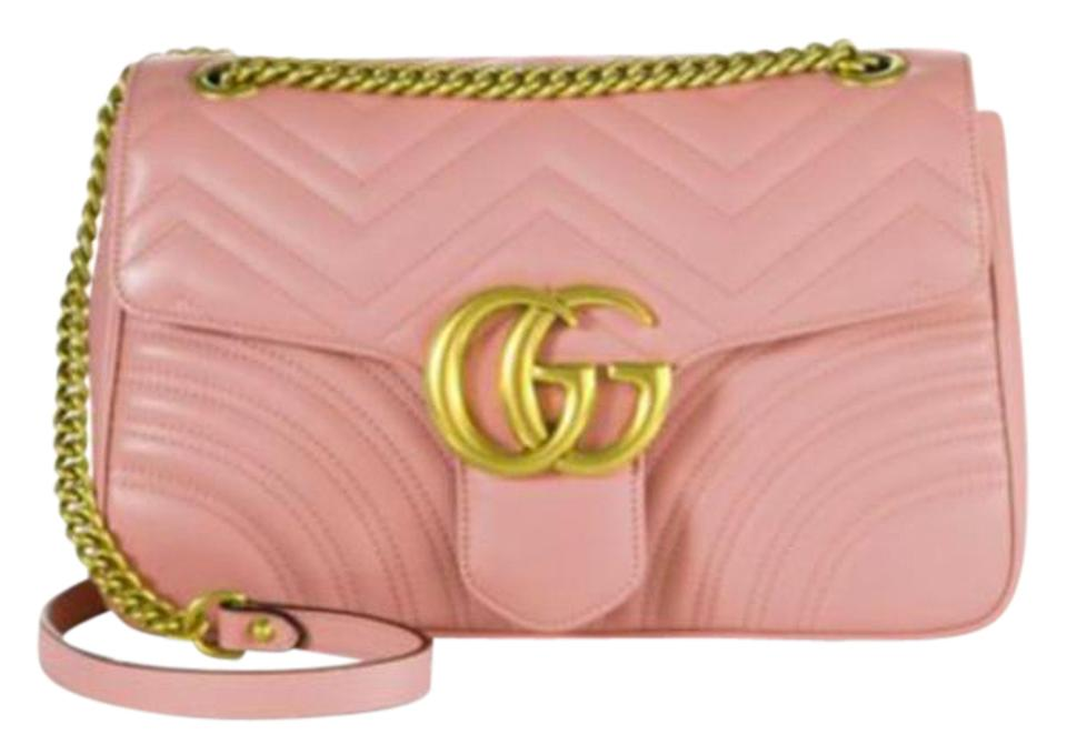 353472cdd9e4 Gucci Marmont Box New In Gg Matelasse Medium Perfect Pink Leather Shoulder  Bag