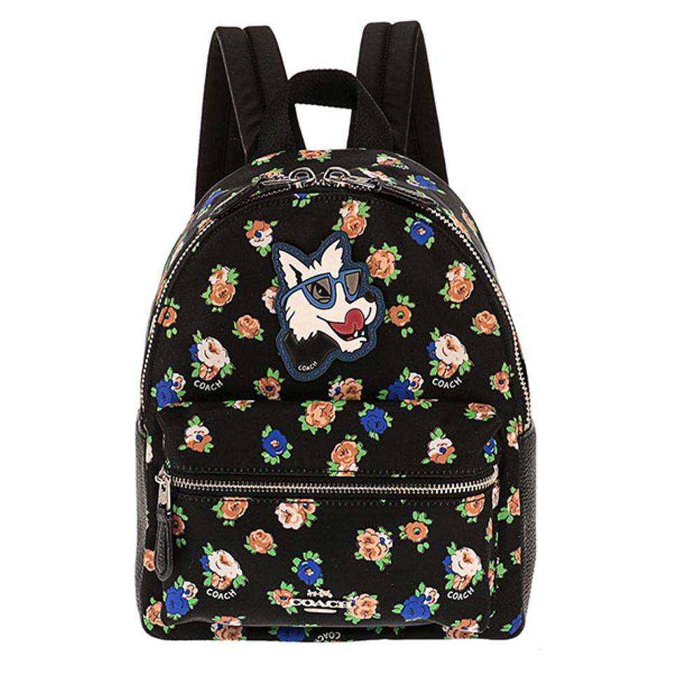 Coach New Rose Floral Doggy Mini Limited Black Leather Backpack ...