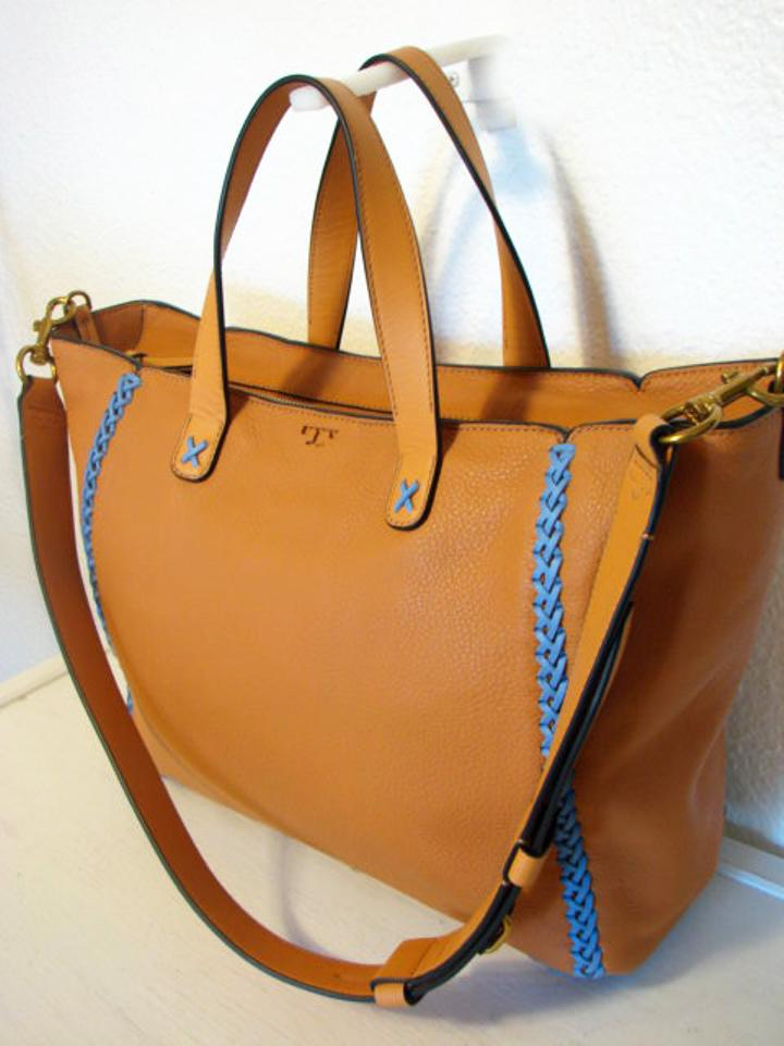 3d25fcf19ad Tory Burch Whipstitch Medium Camello Pebbled Leather Tote - Tradesy
