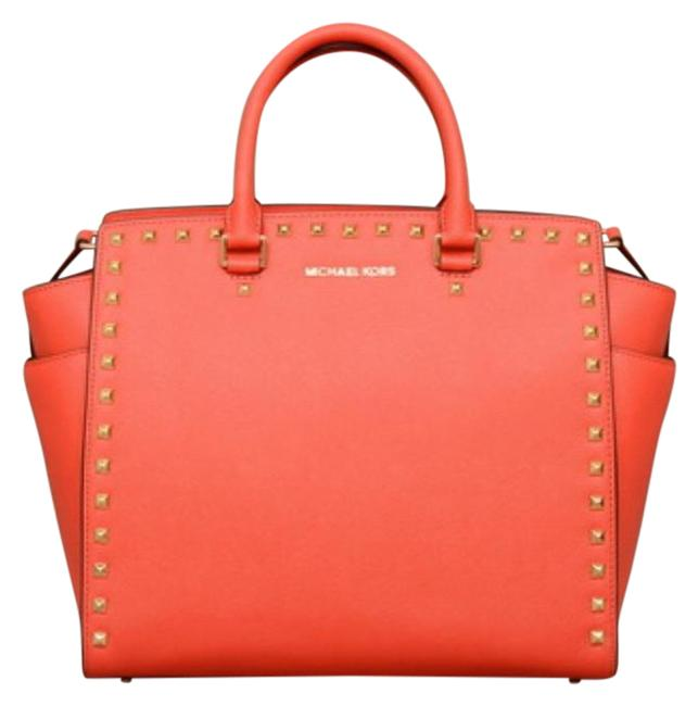 Michael Kors Selma with Studs Mandarin Leather Satchel Michael Kors Selma with Studs Mandarin Leather Satchel Image 1