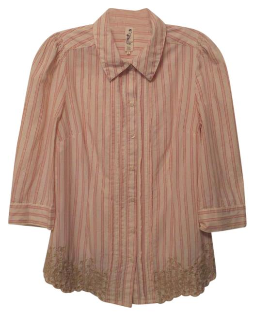Item - Cream Taupe Peach Anthropologie Embroidered Longer Cotton Style Small Tunic Size 6 (S)