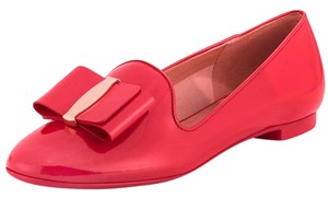 Salvatore Ferragamo Patent Leather Bow Logo Slip-on Made In Italy Pamplona Red Formal