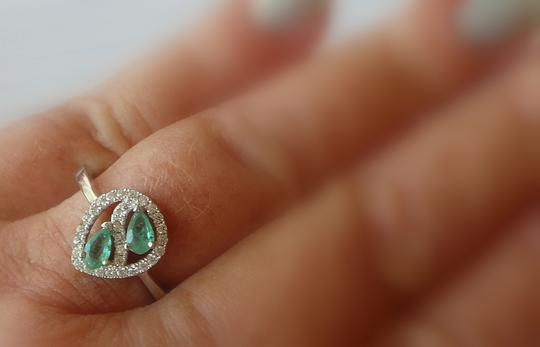 Other NATURAL GEM GREEN BRAZILIAN EMERALD 925 STERLING SILVER RING Sz 7.5