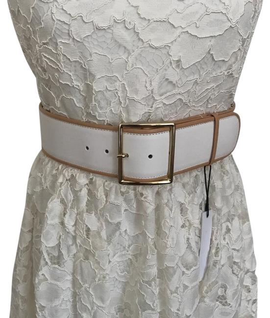 Item - White Leather Gold Accents Belt