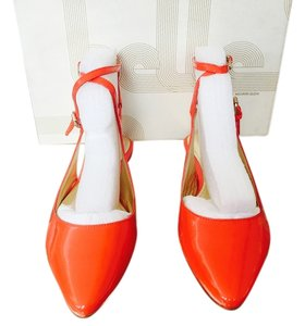 Belle by Sigerson Morrison Strappy Orange Patent Leather Bright Spring Summer Tangerine Flats
