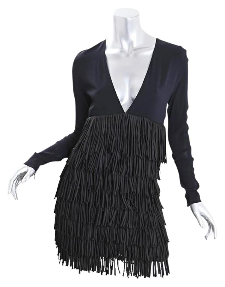 8fc9f1338e8 Balmain Fringe Black Long-sleeve V-neck Mini Short Cocktail Dress ...