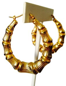 Gold-Tone Large Bamboo Hoop Earrings