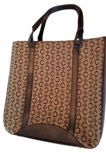 Céline Woven & Leather New Unused Mc 99/1 On Tote in Brown logo jacquard canvas