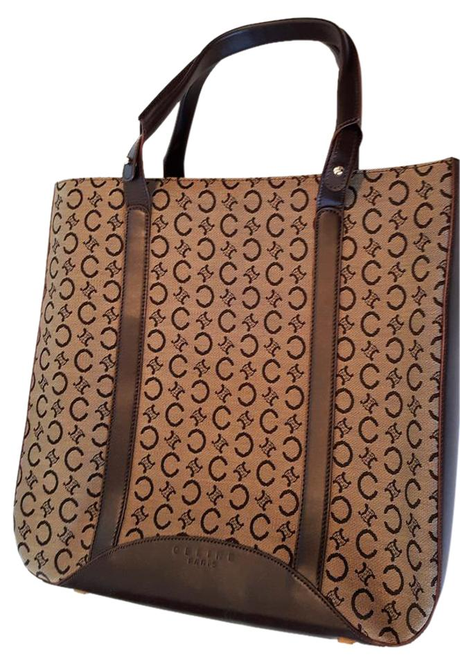 Céline Woven   Leather New Unused Mc 99 1 On Tote in Brown logo jacquard ... 20c8f4923b0f0