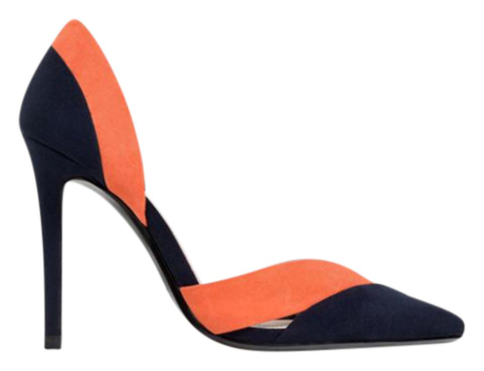 Zara Navy with Tan Orange Tri-color - New with Navy Tags 1/2 Pumps 4234fb